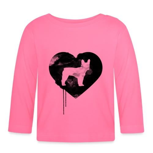 Französische Bulldogge Herz mit Silhouette - Baby Langarmshirt