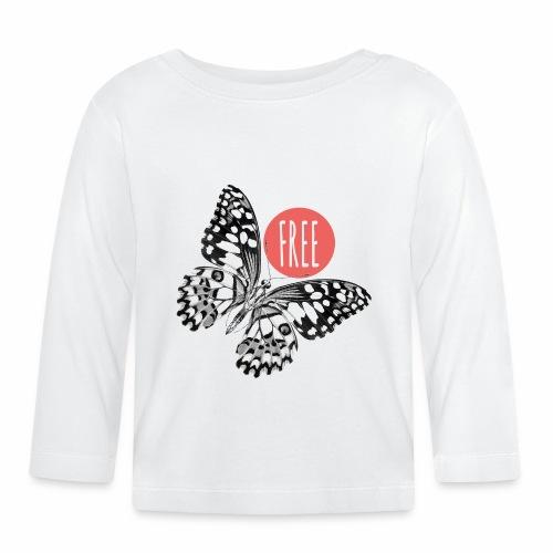 07 Schmetterling FREE Punkt schwarz weiss - Baby Langarmshirt