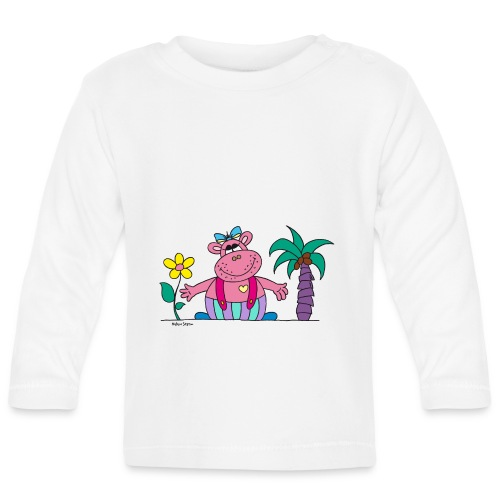 lustiges Nilpferd Sonnenblume Palme Hippo - Baby Long Sleeve T-Shirt