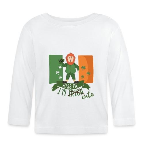 Kiss Me I'm Irish and Cute - Funny Leprechaun - Baby Long Sleeve T-Shirt
