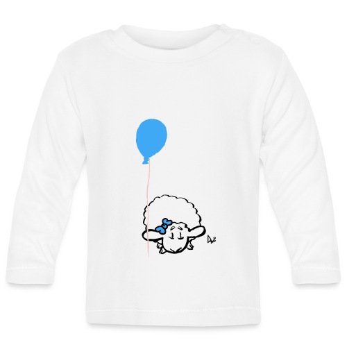 Baby Lamb z balonikiem (niebieski) - Koszulka niemowlęca z długim rękawem
