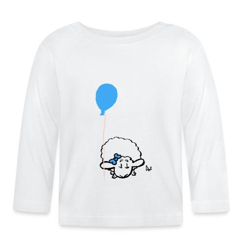 Baby Lamm mit Ballon (blau) - Baby Langarmshirt