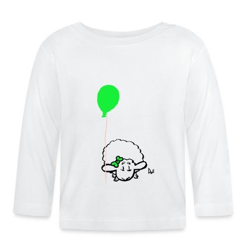 Baby Lamm mit Ballon (grün) - Baby Langarmshirt