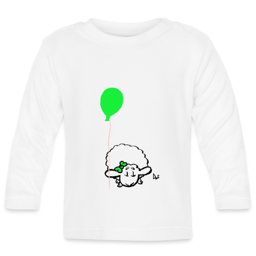 Bébé agneau avec ballon (vert) - T-shirt manches longues Bébé