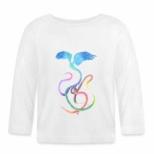 Graceful - Rainbow Bird in Ink - Baby Long Sleeve T-Shirt