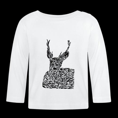 deer black and white - Vauvan pitkähihainen paita