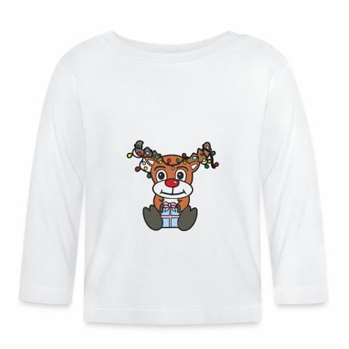 Rentier mit Lichterkette - Baby Langarmshirt