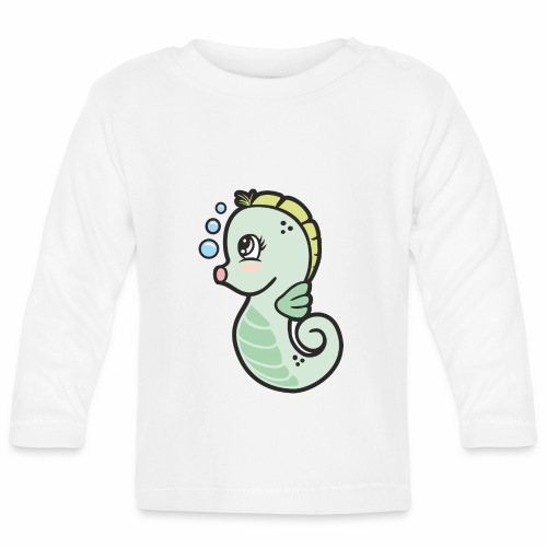 Seepferdchen grün - Baby Langarmshirt