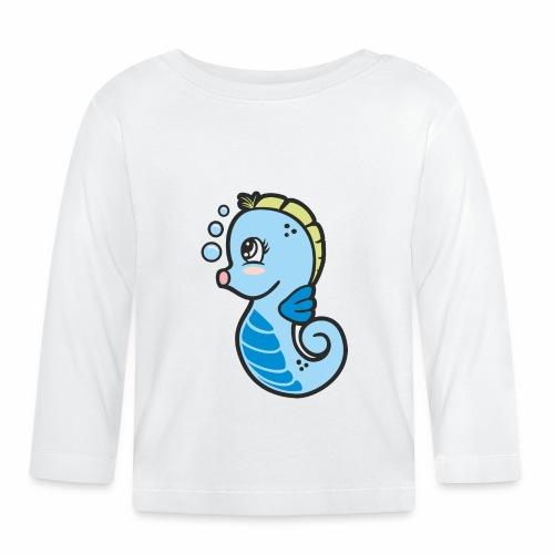 Seepferdchen blau - Baby Langarmshirt