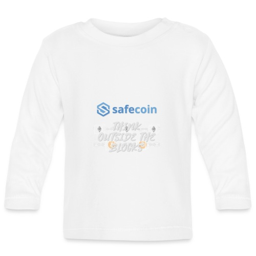 SafeCoin; Think Outside the Blocks (blue + white) - Baby Long Sleeve T-Shirt