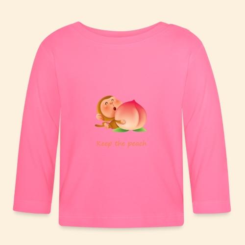 Monkey Keep the peach - T-shirt manches longues Bébé