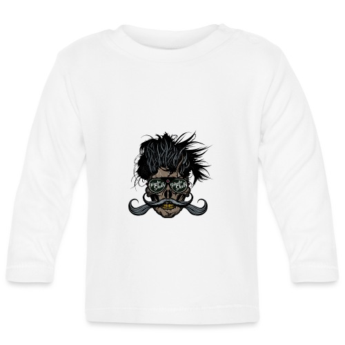 hipster skull tete de mort crane barbu moustache - T-shirt manches longues Bébé