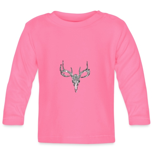 Deer skull with rose - Vauvan pitkähihainen paita