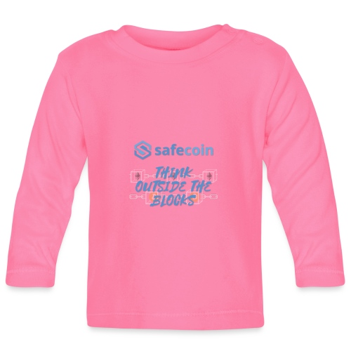 SafeCoin; think outside the blocks (blue) - Baby Long Sleeve T-Shirt