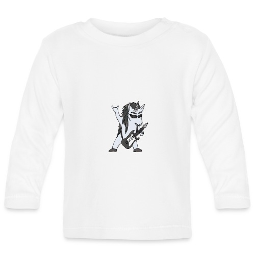 Licorne guitare metal N&B sans fond - T-shirt manches longues Bébé
