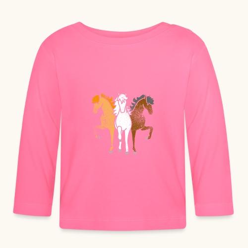 Drôle idée de cadeau chevaux couleurs troika Grunge - T-shirt manches longues Bébé