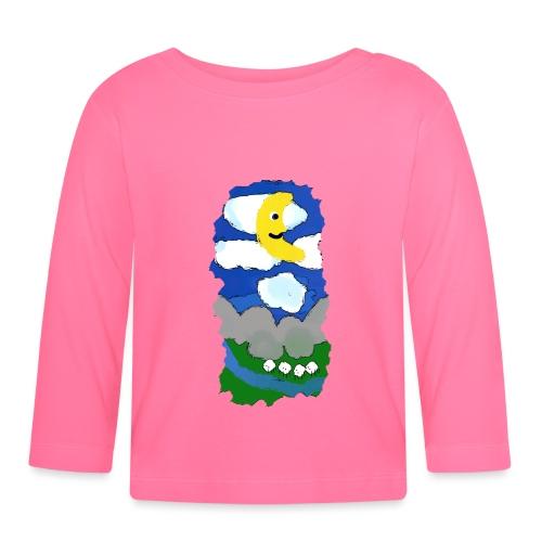 smiling moon and funny sheep - Baby Long Sleeve T-Shirt