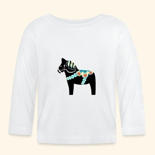 Svart dalahäst - Långärmad T-shirt baby