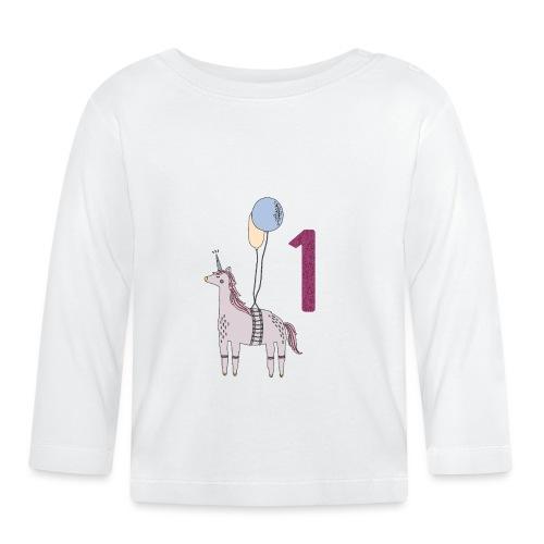 1 Jahr Einhorn / Geschenkidee zum 1. Geburtstag - Baby Langarmshirt