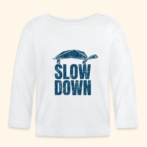 Slow Down witzige coole Schildkröte Keep Calm kein - Baby Langarmshirt