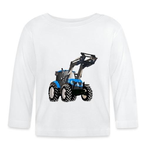 Blauer Traktor mit Frontlader - Baby Langarmshirt