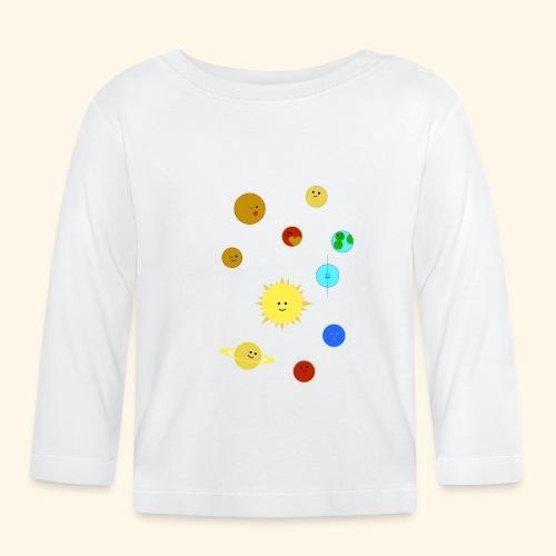 Solsystem svart - Långärmad T-shirt baby