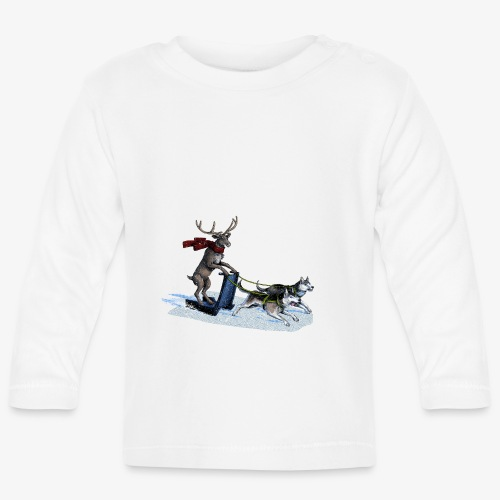 Reindeer sledge pulled by Huskies - Baby Long Sleeve T-Shirt