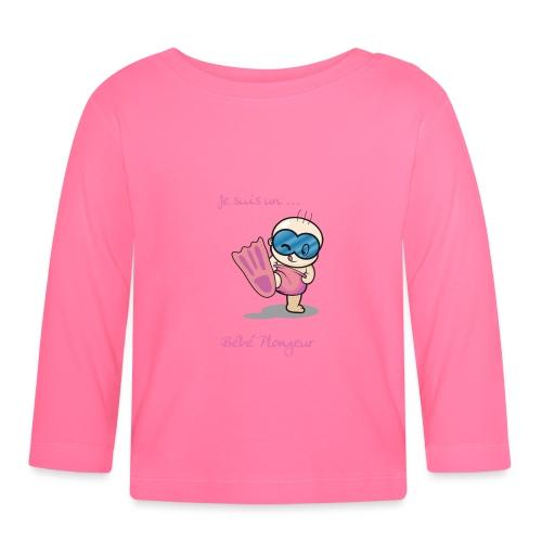 je suis un bebe plongeur rose - T-shirt manches longues Bébé