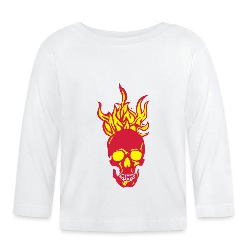 skull tete mort flamme fire dead head fe - T-shirt manches longues Bébé