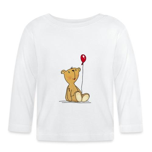 Teddybär mit rotem Luftballon Kuscheltier Kinder - Baby Long Sleeve T-Shirt