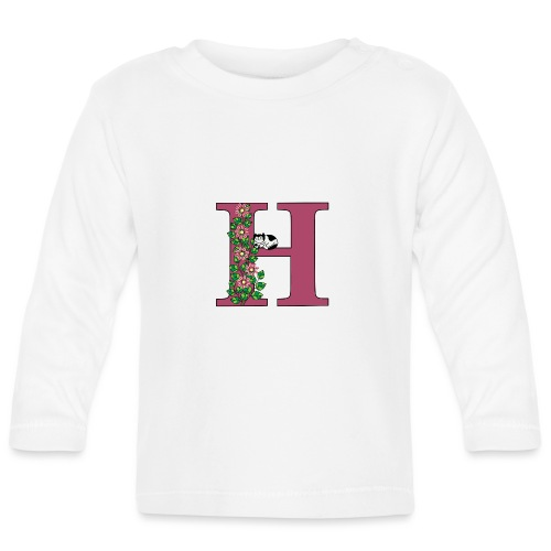 Letter H with cat and flowers - Baby Long Sleeve T-Shirt