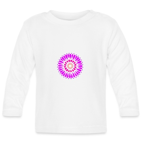 Purple Double Sunflower Mandala - Baby Long Sleeve T-Shirt