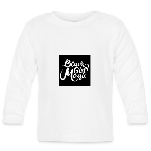 Black Girl Magic 1 White Text - Baby Long Sleeve T-Shirt