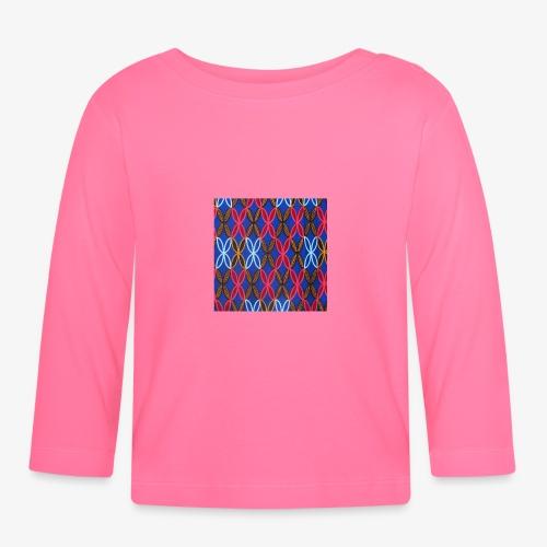 Design motifs bleu rose orange marron - T-shirt manches longues Bébé