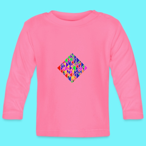A square school of triangular coloured fish - Baby Long Sleeve T-Shirt