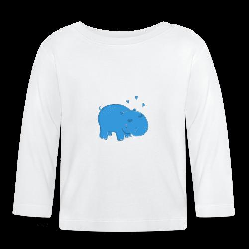 Kleines blaues Nilpferd - Baby Langarmshirt