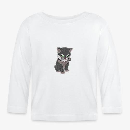 Kotek szary - Koszulka niemowlęca z długim rękawem