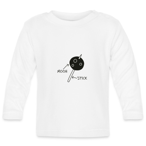 Moon on a Stick (white on dark background) - Baby Long Sleeve T-Shirt