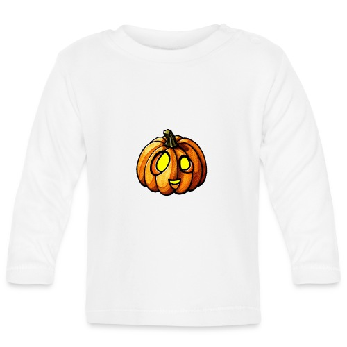Pumpkin Halloween watercolor scribblesirii - Baby Long Sleeve T-Shirt
