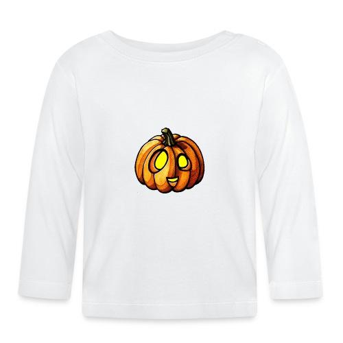 Pumpkin Halloween watercolor scribblesirii - Langærmet babyshirt
