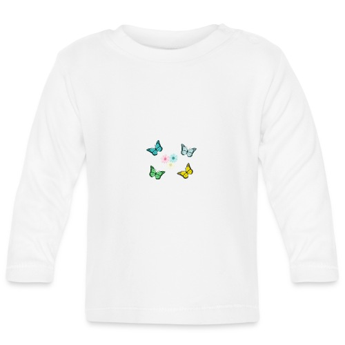 Butterflies and flowers - Långärmad T-shirt baby