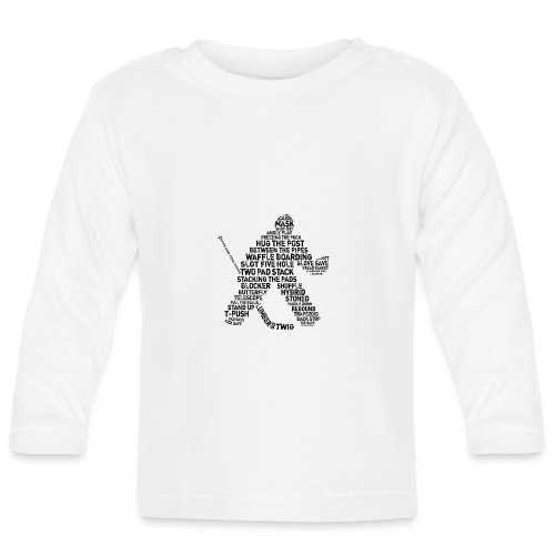 Goalie Lingo - Grunge Text Version (black print) - Baby Long Sleeve T-Shirt