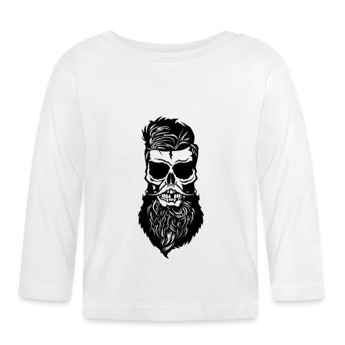 tete de mort hipster skull barbu barbe moustache m - T-shirt manches longues Bébé