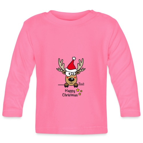Renne Joyeux Noël - Happy Christmas, Humour, Drôle - T-shirt manches longues Bébé
