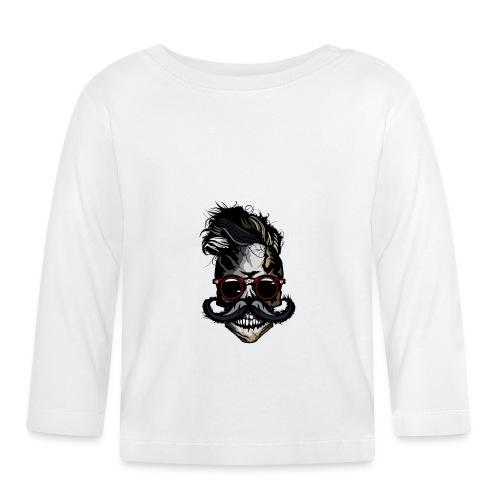 tete de mort hipster moustachu crane skull moustac - T-shirt manches longues Bébé