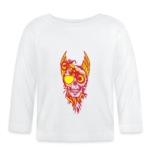 tete mort moto skull aile flamme fire - T-shirt manches longues Bébé