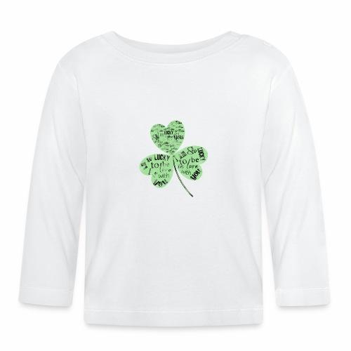 Green Clover With Love Typography / Fortuna e Amor - Maglietta a manica lunga per bambini