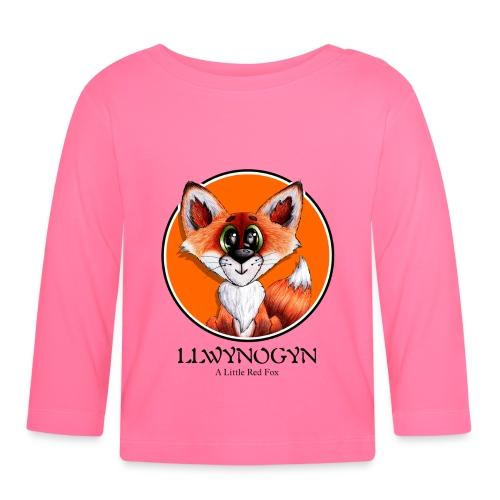 llwynogyn - a little red fox (black) - Vauvan pitkähihainen paita