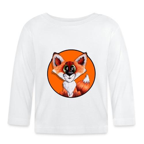 llwynogyn - a little red fox (white) - Vauvan pitkähihainen paita