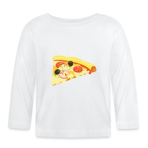Vater Sohn Partnerlook Pizza Stück - Baby Langarmshirt
